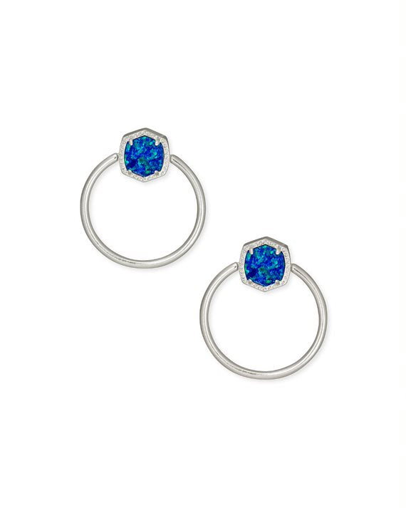 Davie Silver Hoop Earrings in Royal Blue Opal