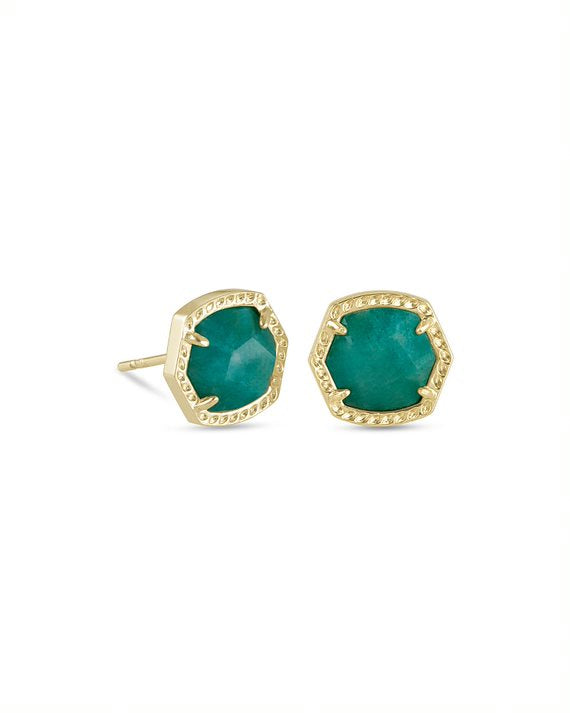 Davie Gold Stud Earrings in Teal Amazonite