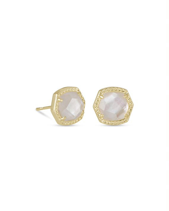 Davie Gold Stud Earrings in Ivory Mother of Pearl