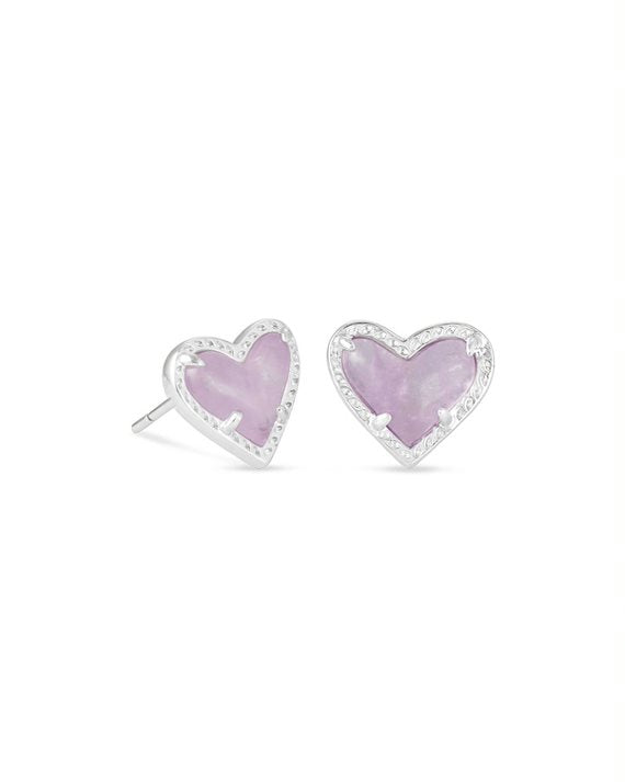 Ari Silver Heart Stud Earrings in Amethyst