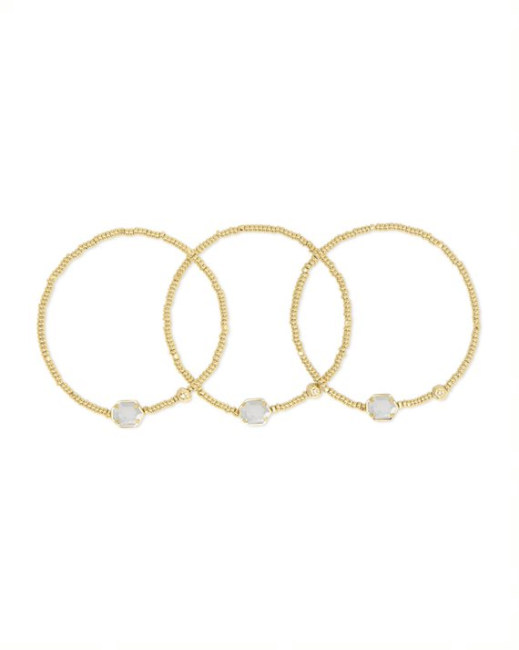 Tomon Gold Stretch Bracelet Set in Gold Ivory Mother of Pearl