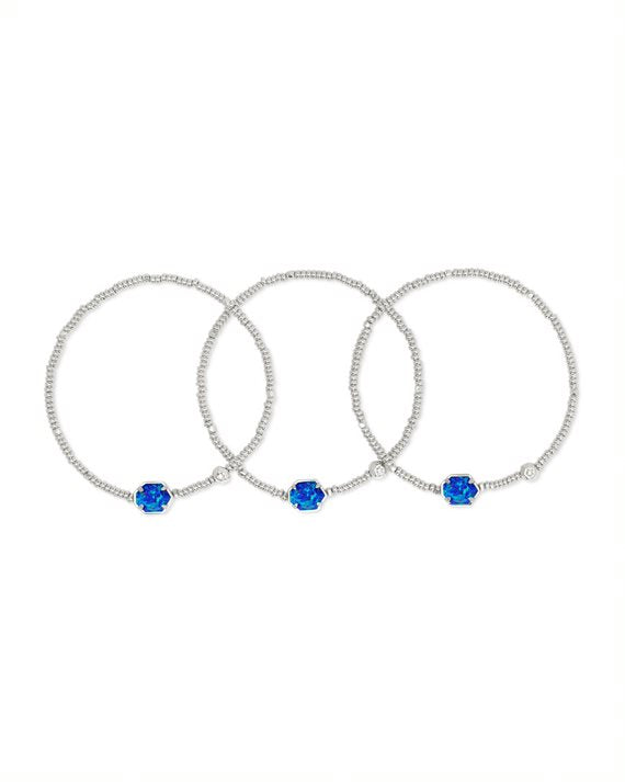 Tomon Silver Stretch Bracelet Set in Royal Blue Opal