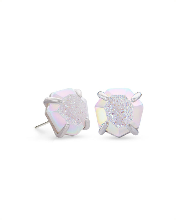 Ryan Stud Earring Silver Iridescent Drusy