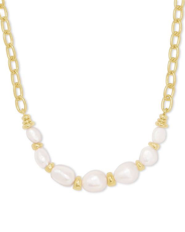 Demi Gold Chain Necklace in Baroque Pearl