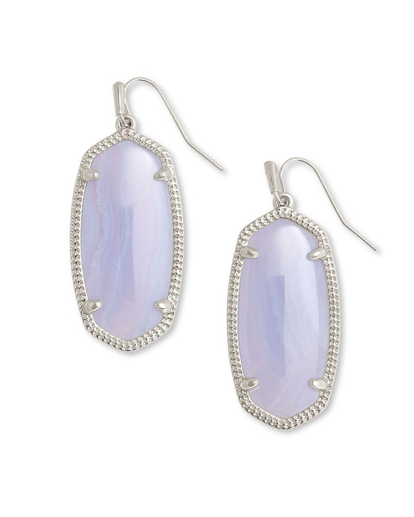 Elle Silver Drop Earrings in Blue Lace Agate