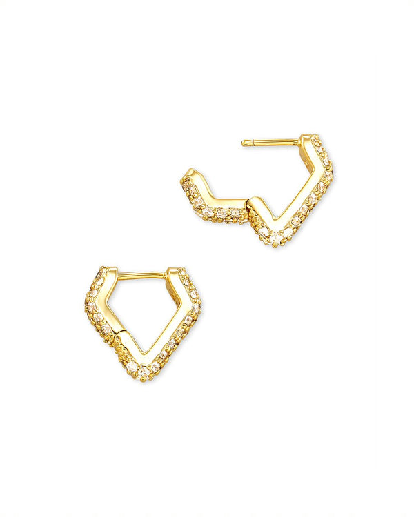 Demi Huggie Earrings in Gold White CZ