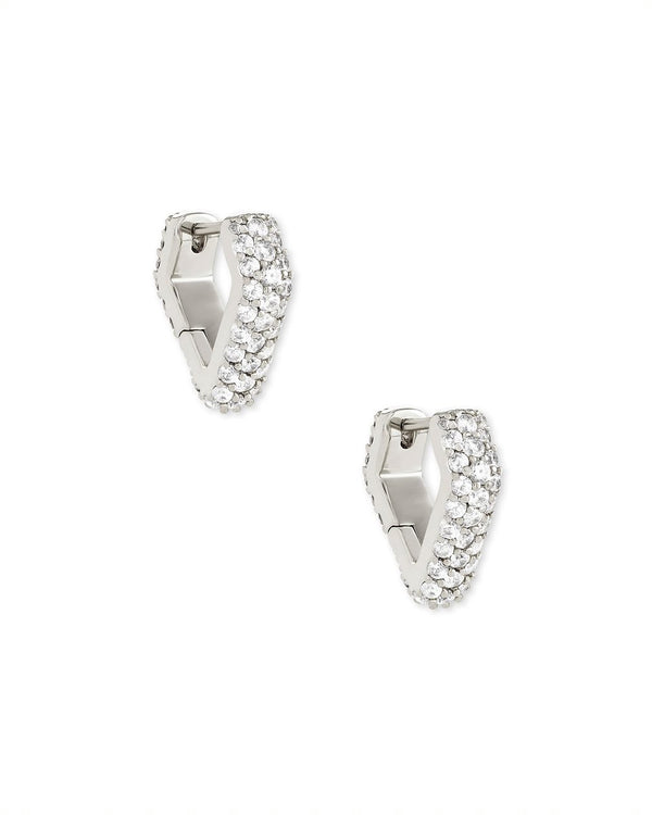 Demi Huggie Earrings in Silver White CZ