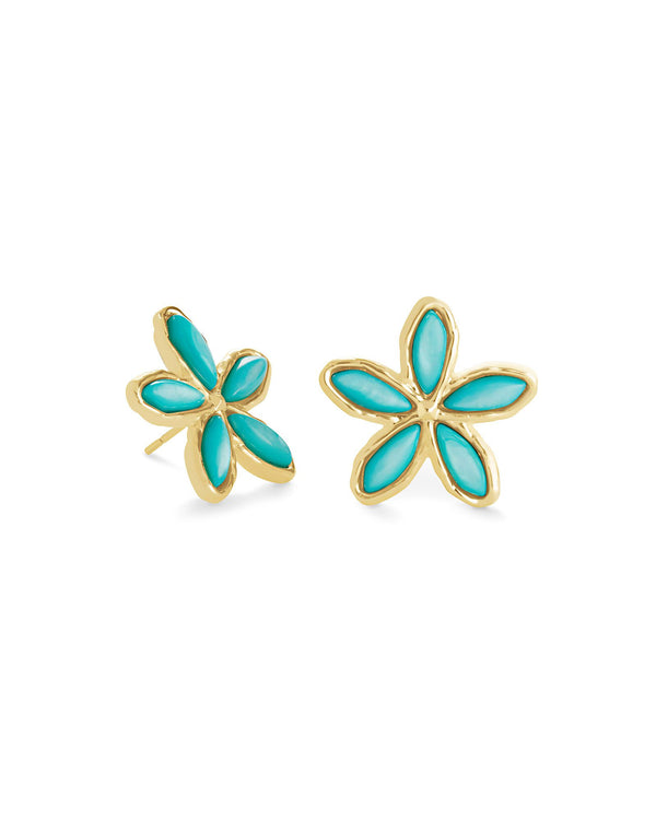 Kyla Gold Flower Stud, Teal Mother of Pearl