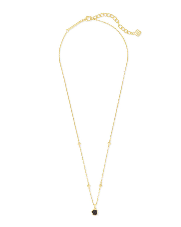 Nola Gold Short Pendant Necklace, Black Drusy