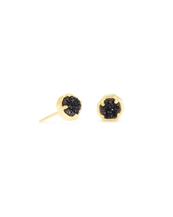Nola Gold Stud Earrings in Black Drusy