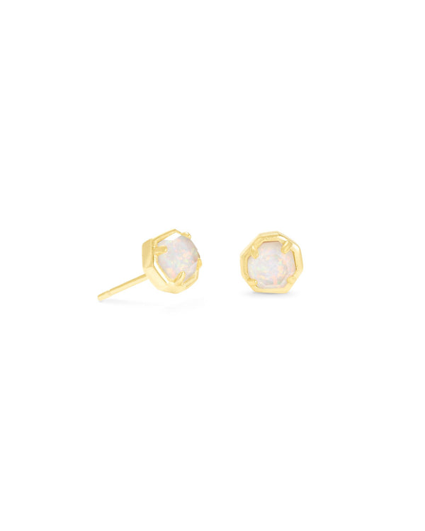Nola Gold Stud Earrings in White Opal Illusion
