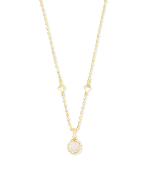Nola Gold Short Pendant Necklace, White Opal Illusion