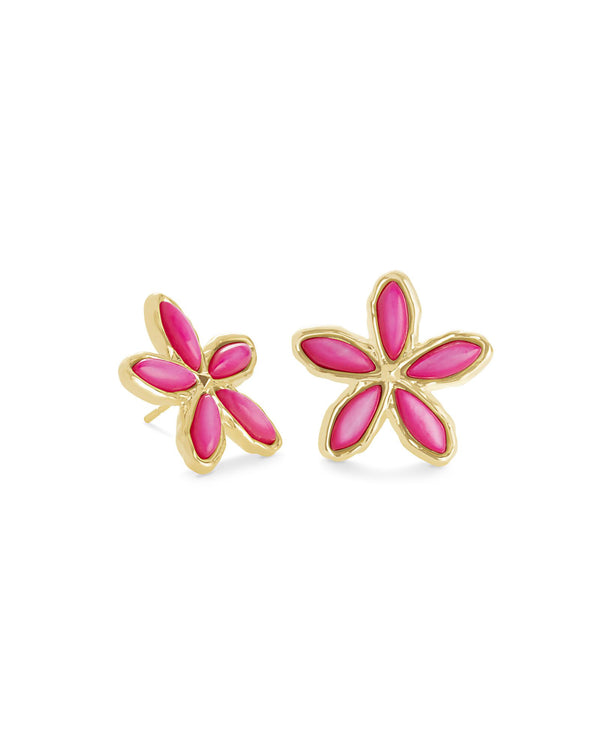 Kyla Gold Flower Stud, Raspberry Mother of Pearl