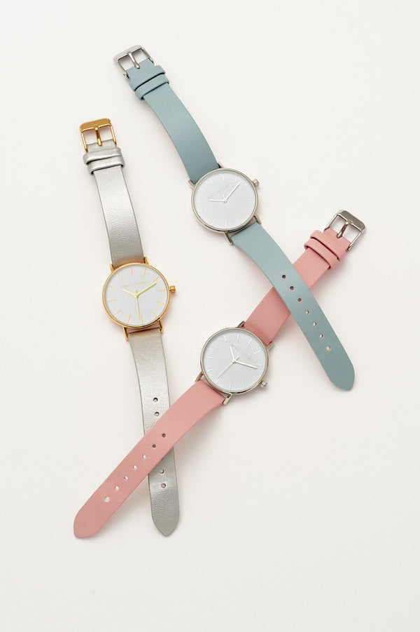 Faux Leather Watch - Blush