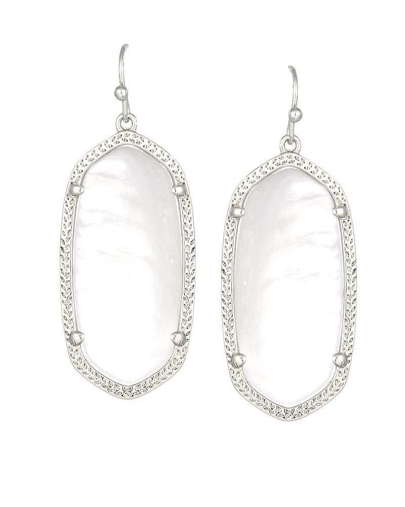 KENDRA SCOTT Elle Silver Earrings in White Pearl - Sabi Boutique