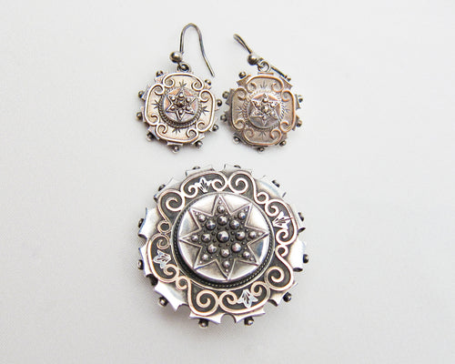 Victorian Engraved Silver Earring & Brooch Set
