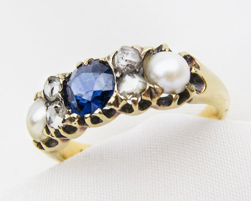Victorian Sapphire, Diamond, & Pearl Linear Ring