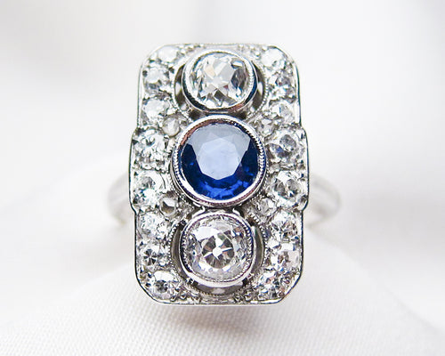Art Deco Rectangular Sapphire & Diamond Ring