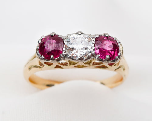 Art Deco Three-Stone Ruby & Diamond Ring