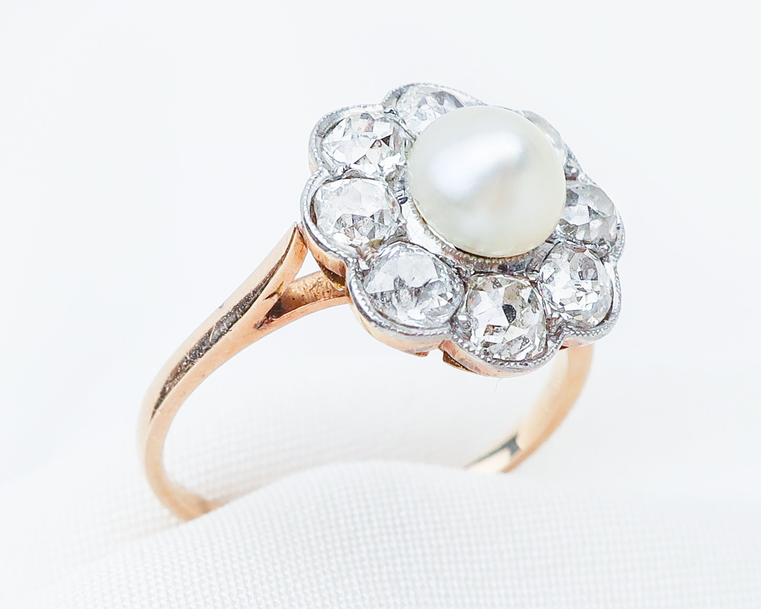 Edwardian French Diamond & Pearl Halo Ring