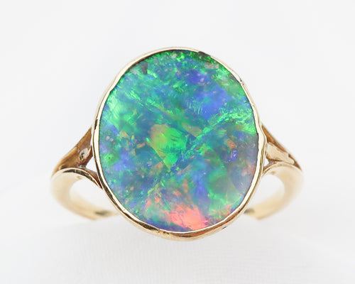 Art Deco Boulder Opal Ring