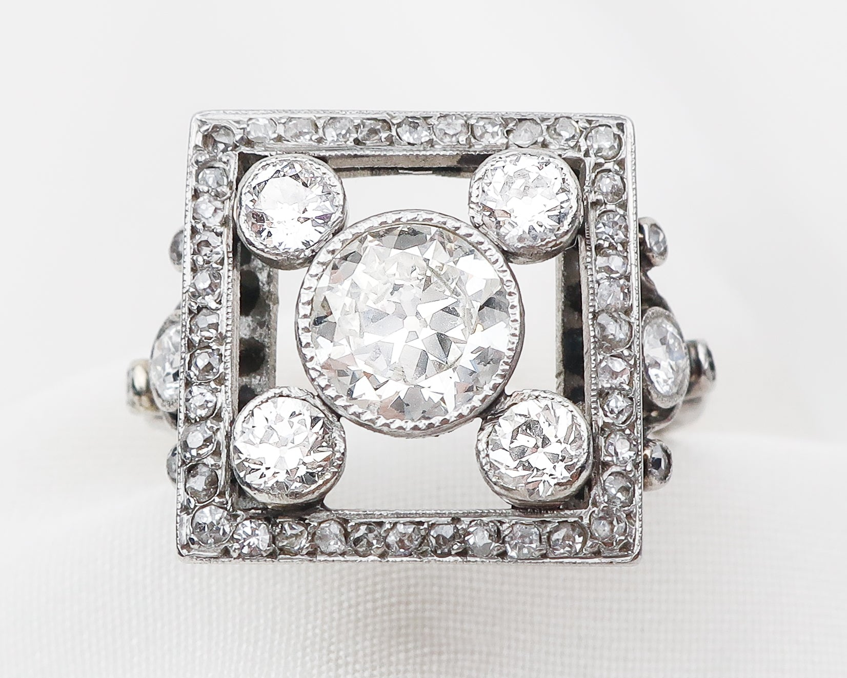 Art Deco French Square Diamond Ring