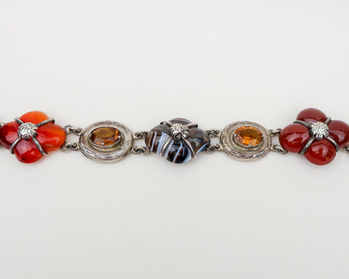 Victorian Scottish Agate & Citrine Buckle Bracelet