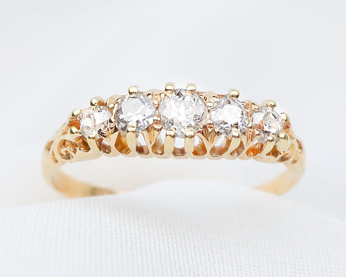 Victorian 18KT Gold 5-Stone Diamond Band
