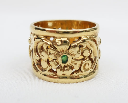 Gold Butterfly Band with Emerald Accents