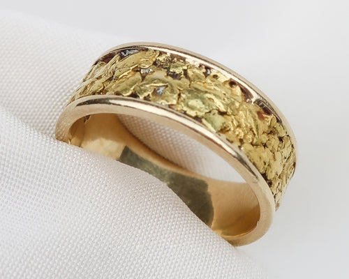 Midcentury 14KT Gold Nugget Band