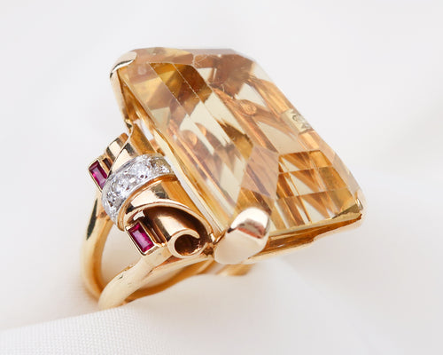 Retro-Era Citrine Cocktail Ring with Diamonds & Ruby Baguettes
