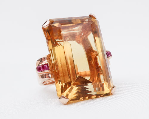 Retro-Era Citrine Cocktail Ring with Rubies