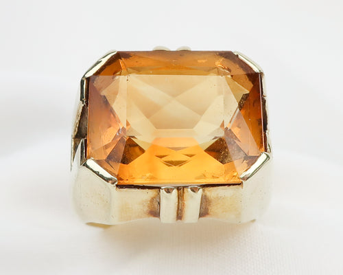Retro Citrine Ring in Chunky Gold Setting