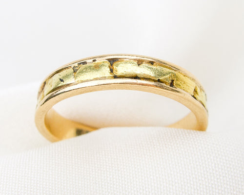 Midcentury Thin Gold Nugget Band