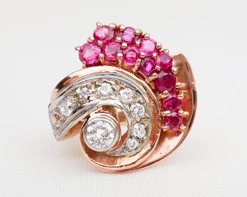 Retro-Era Ruby & Diamond Conch Shell Ring