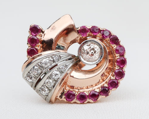 Retro-Era Ruby & Diamond Shell Ring