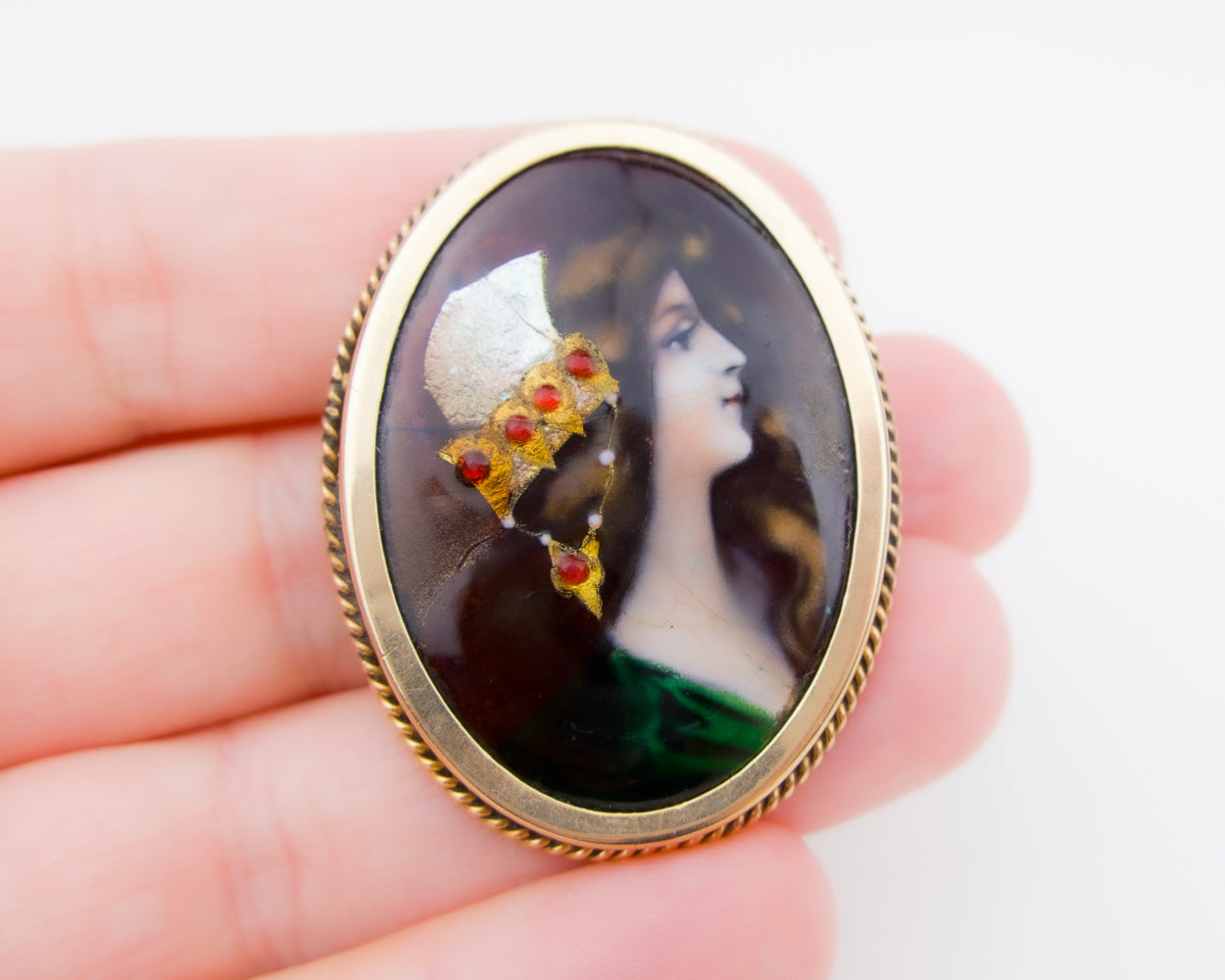 Victorian Hand-Painted Brooch