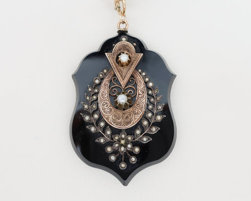 Victorian Memorial Onyx Pendant with Onyx Chain