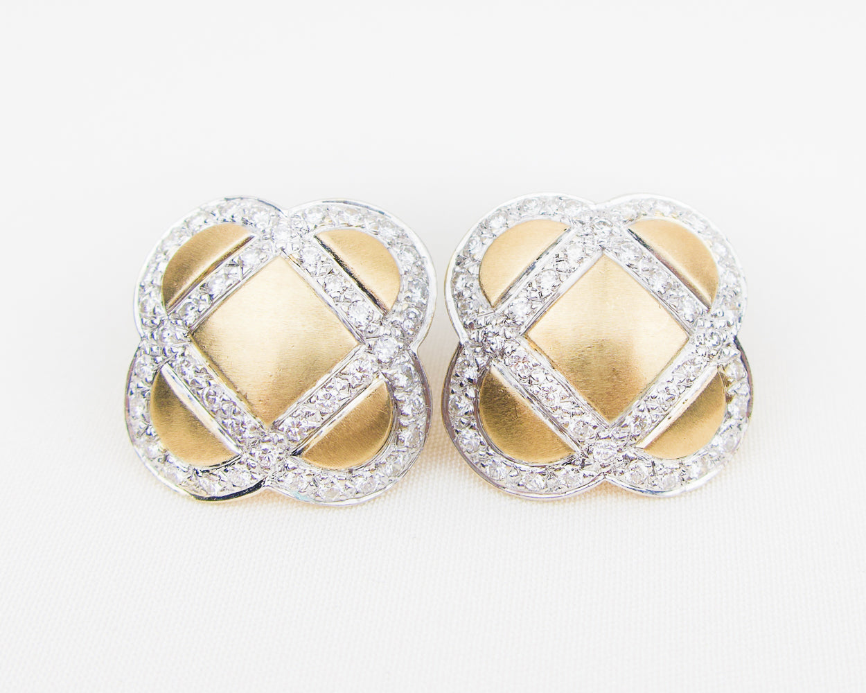 Esther Gallant Brushed Gold Earrings with Diamonds
