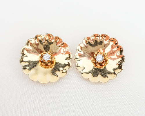 Midcentury Gold Floral Post Earrings