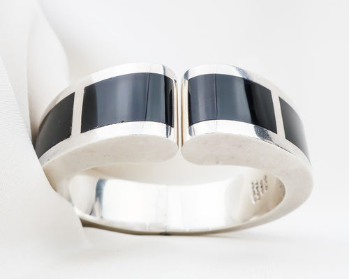 Late Midcentury Silver & Onyx Taxco Cuff