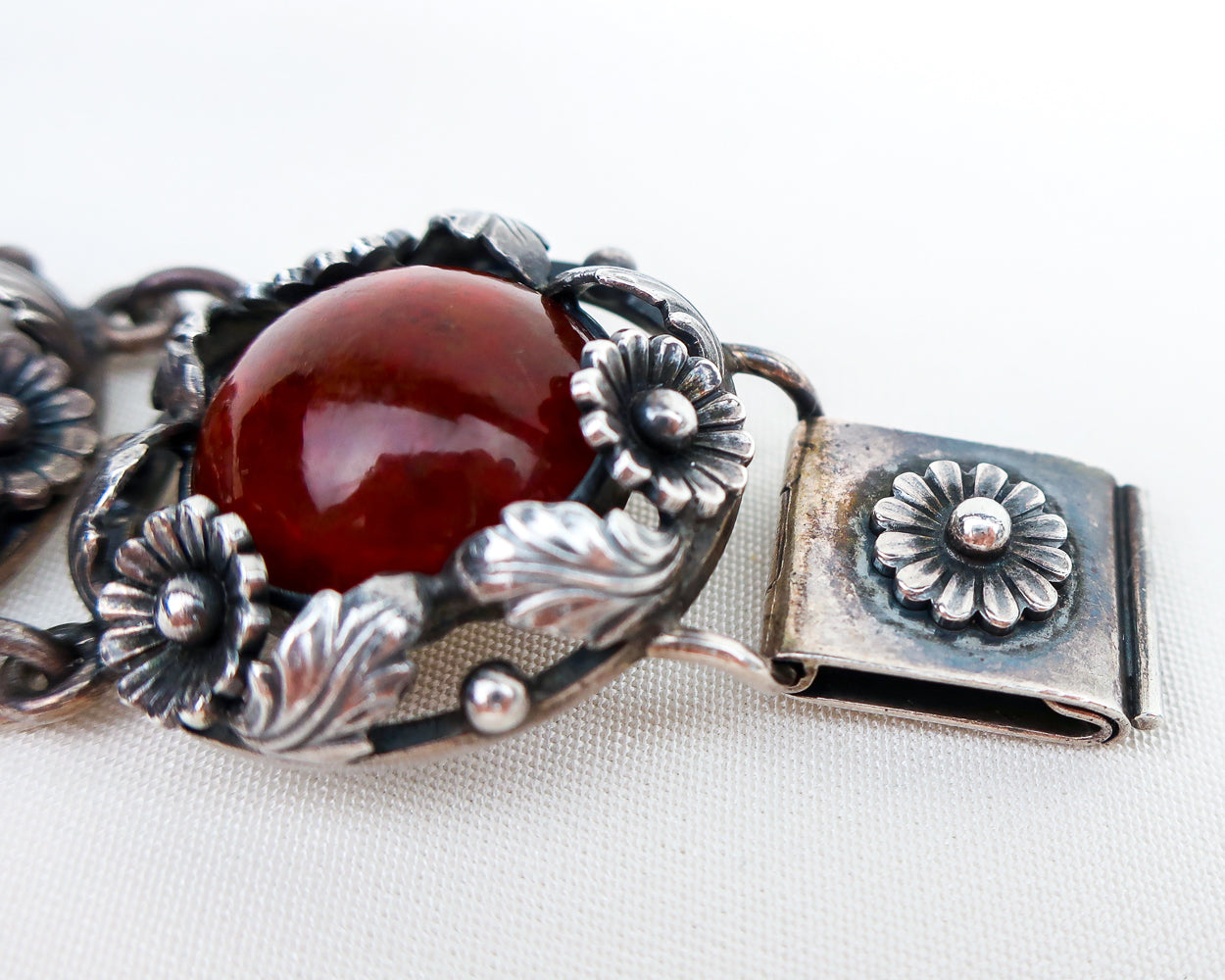 Late-Midcentury Amber & Silver Bracelet by Niels From