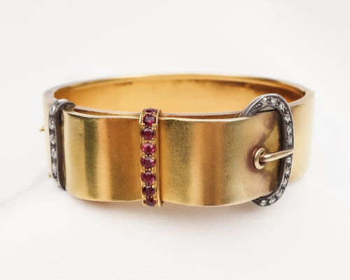Victorian Ruby & Diamond Buckle Bangle
