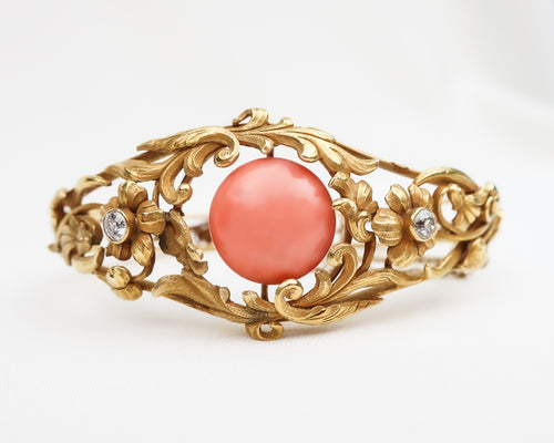 Victorian Bracelet with Coral Cabochon & Diamonds