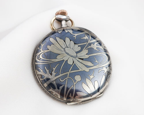 Edwardian Niello Floral Pocket Watch