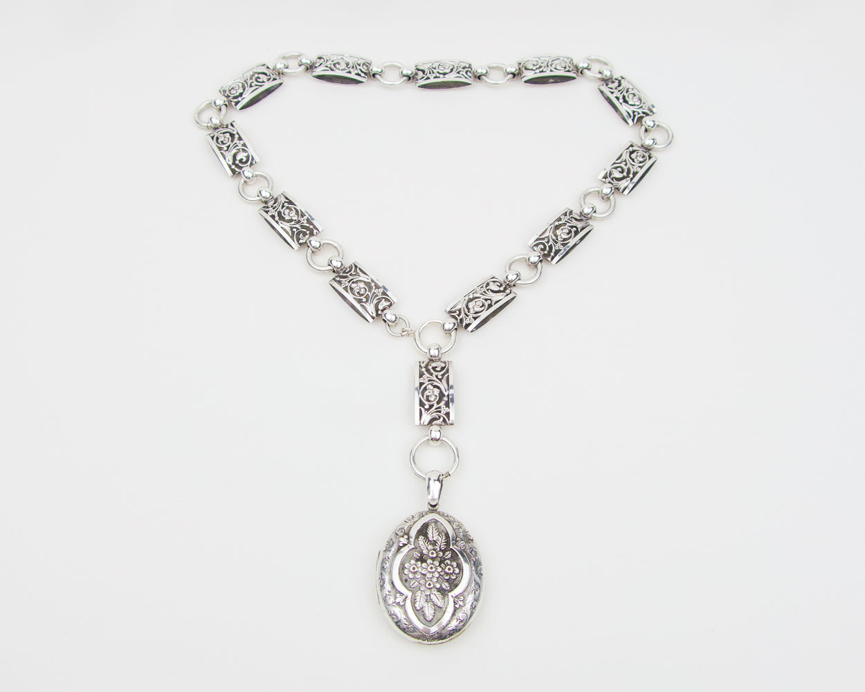 Victorian Silver Embossed Locket and Chain