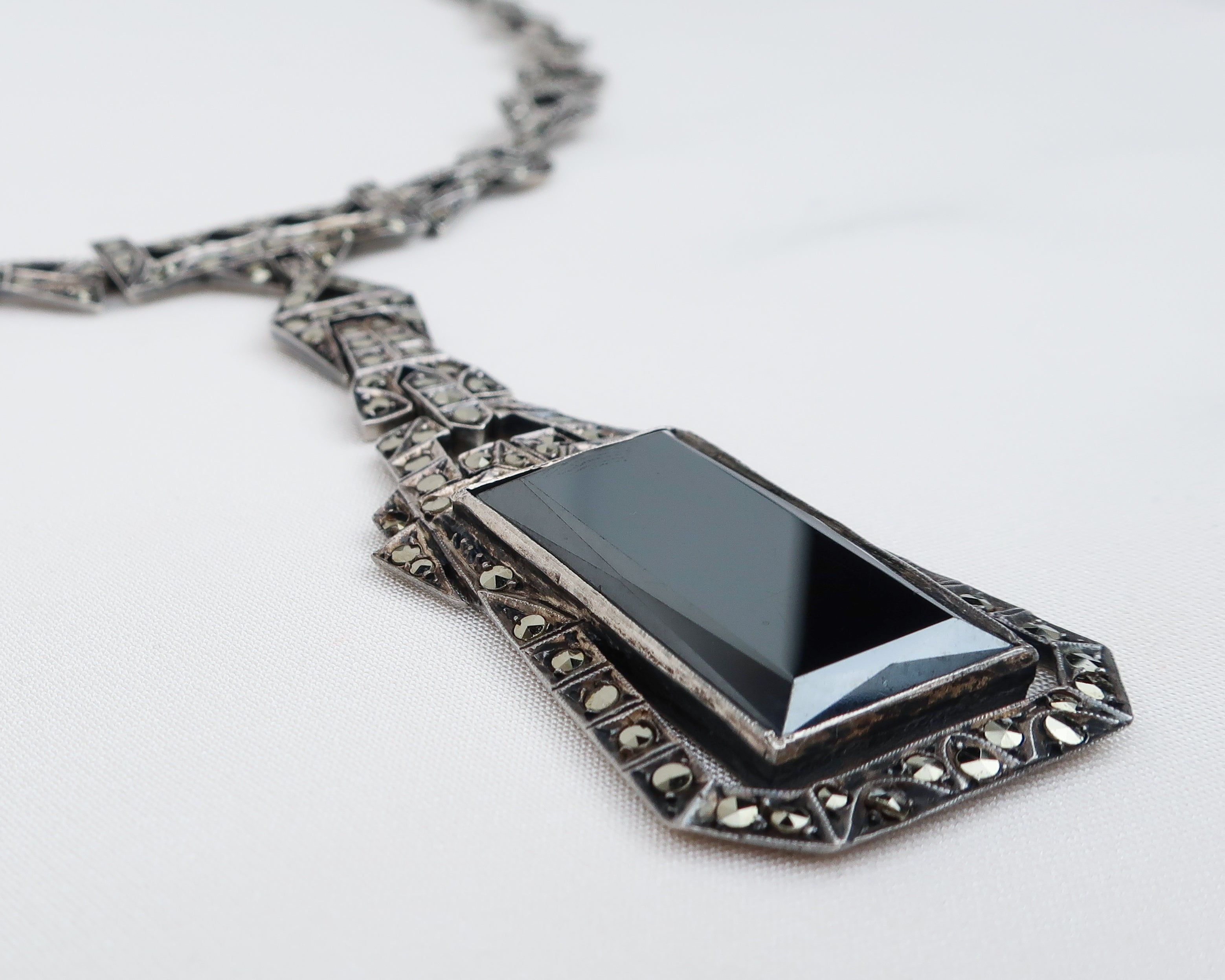 Art Deco Marcasite Pendant Necklace