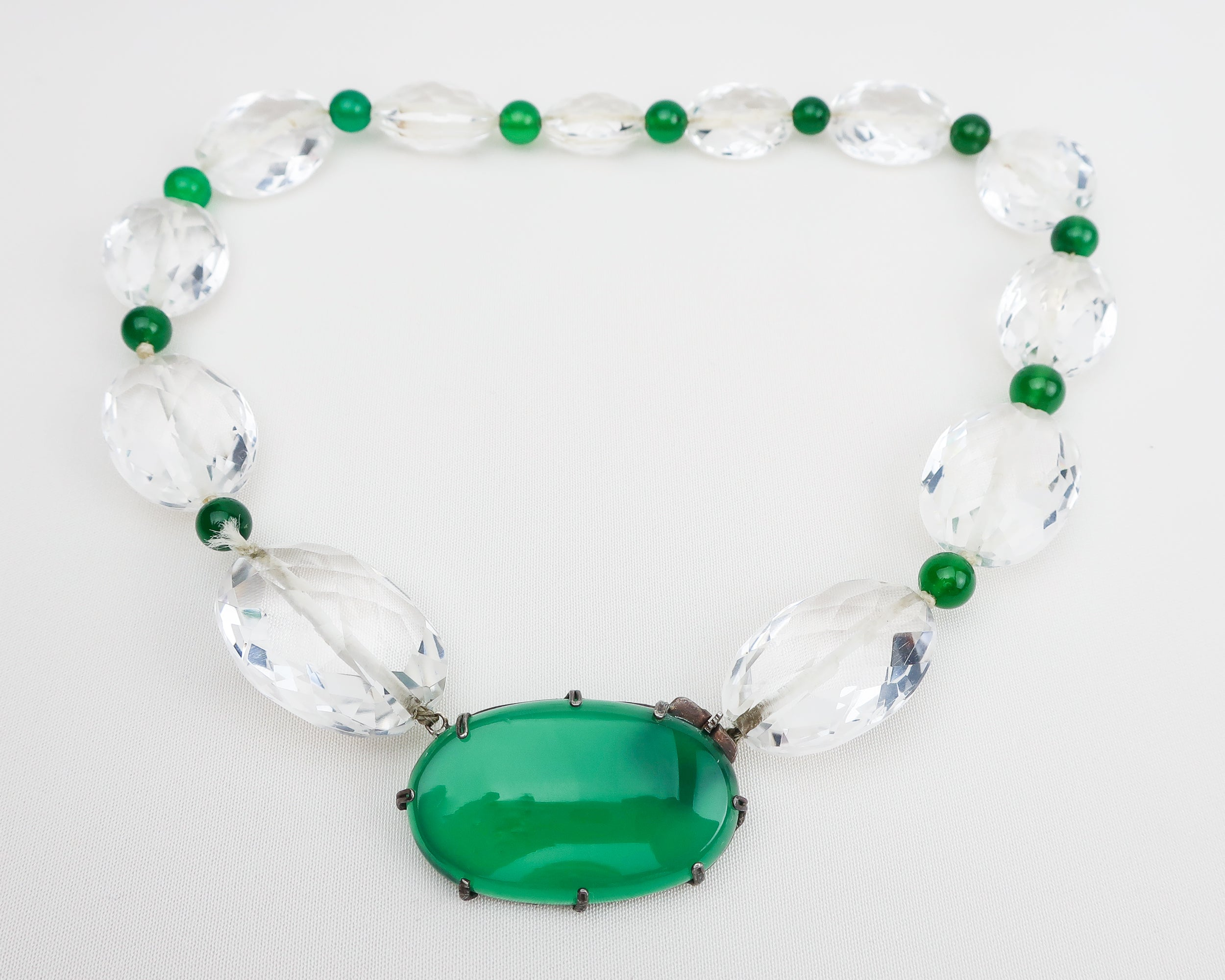 Art Deco Crystal and Chrysoprase Necklace