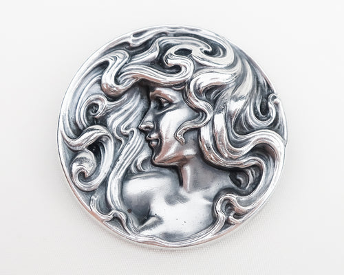 Art Nouveau Woman's Profile Silver Brooch