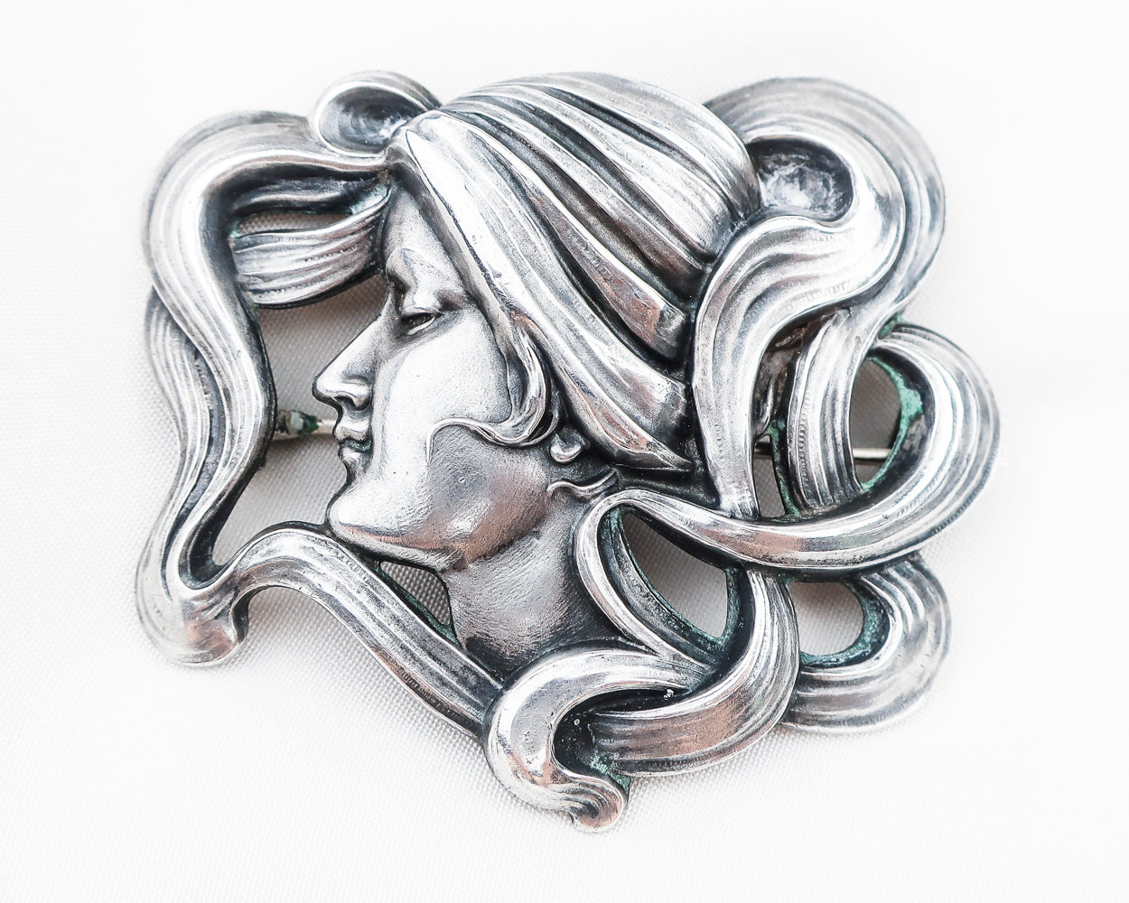Art Nouveau Woman's Profile Brooch